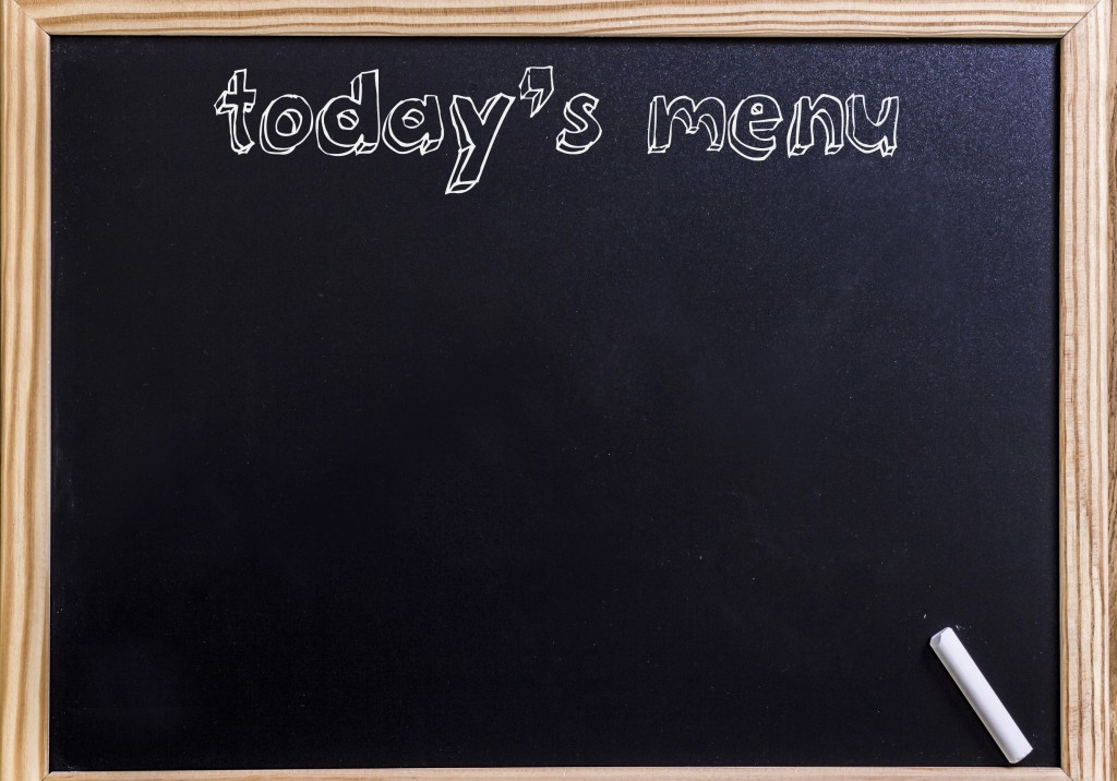 Today's menu - New chalkboard with 3D outlined text - on wood